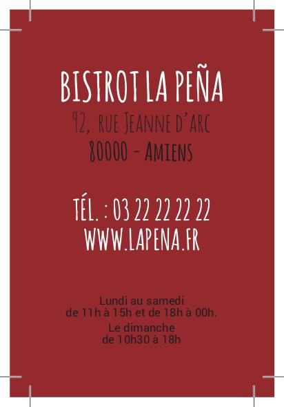 carte visite La Peña rouge verso