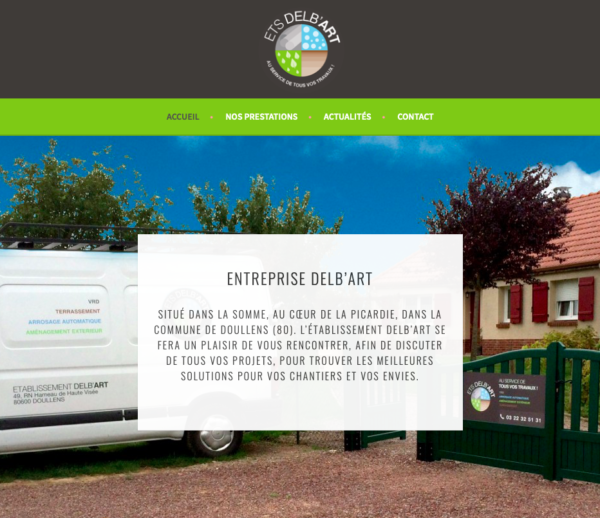 Évolutions site web  – Ets Delb'art